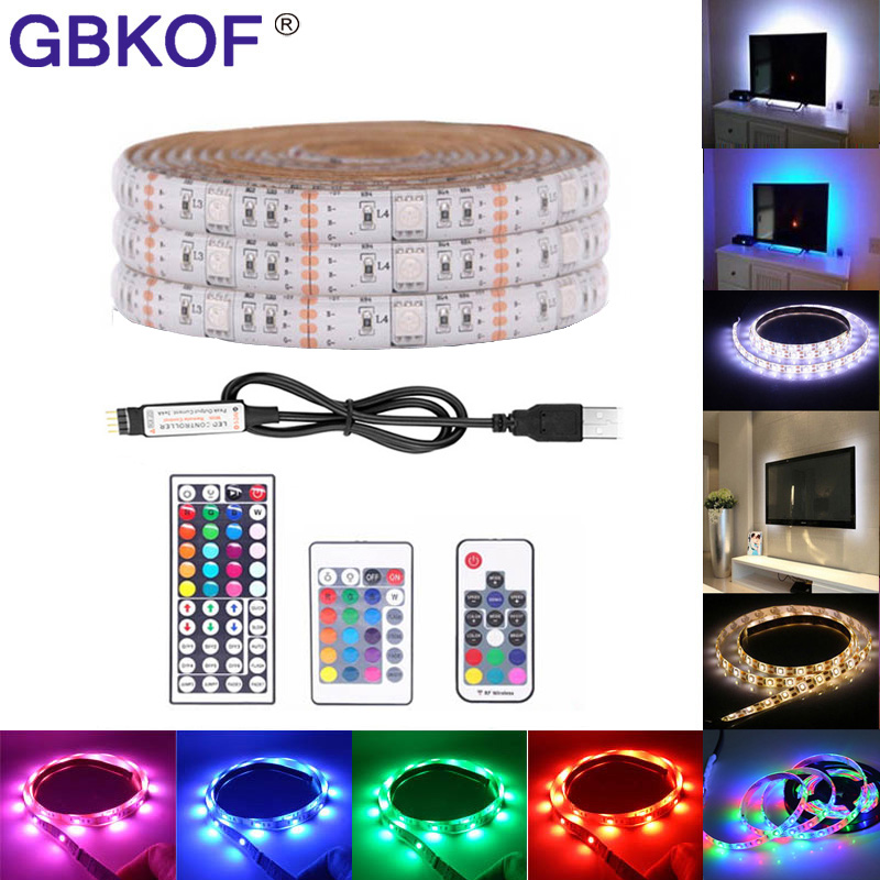 USB LED Strip Light TV Backlight 5V Waterproof RGB SMD 5050/3528 LED Ribbon Tape Lights For The Computer PC Decoration Lighting