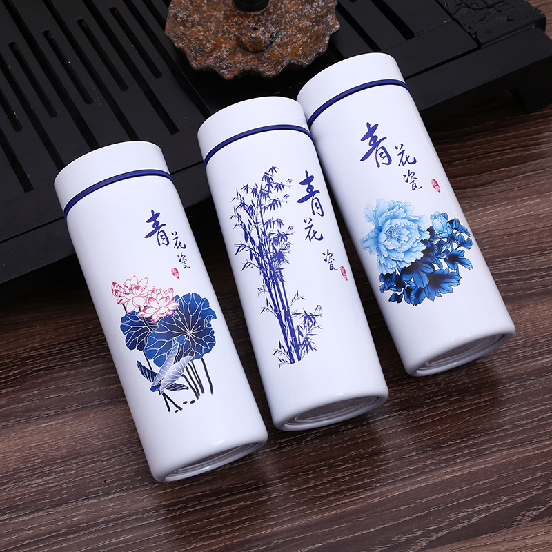 Chinese Blue And White Ceramic Water Bottle Stainless Steel Outside Thermos Flask Outdoor Portable Porcelain Drink Bottle Cup