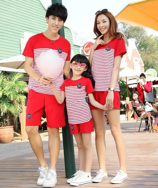 Active Family Clothes Classic Stricpes Mae E Filha Roupas T-shirt For Lovers Summer The Same Clothes For Mother And Daughter