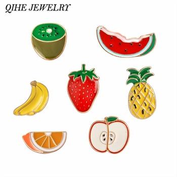 QIHE JEWELRY Watermelon Kiwi Strawberry Orange Banana Apple Pineapple Cartoon Fruit Fashion Brooches For Women And Kids