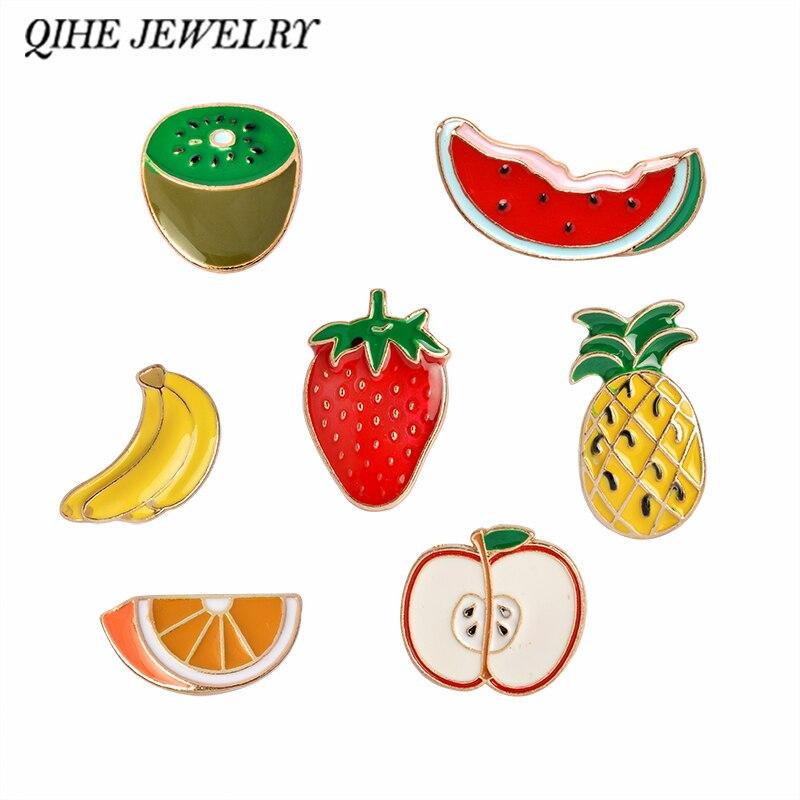 QIHE sieraden watermeloen kiwi aardbei oranje banaan appel Dennenappel cartoon fruit mode broches voor dames en kinderen