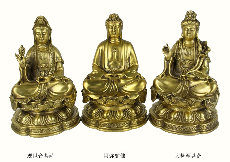 Special offer--TOP collection Home Decor Religious Three Western Saints figure of Buddha Bodhisattva Buddhism Brass Decoration
