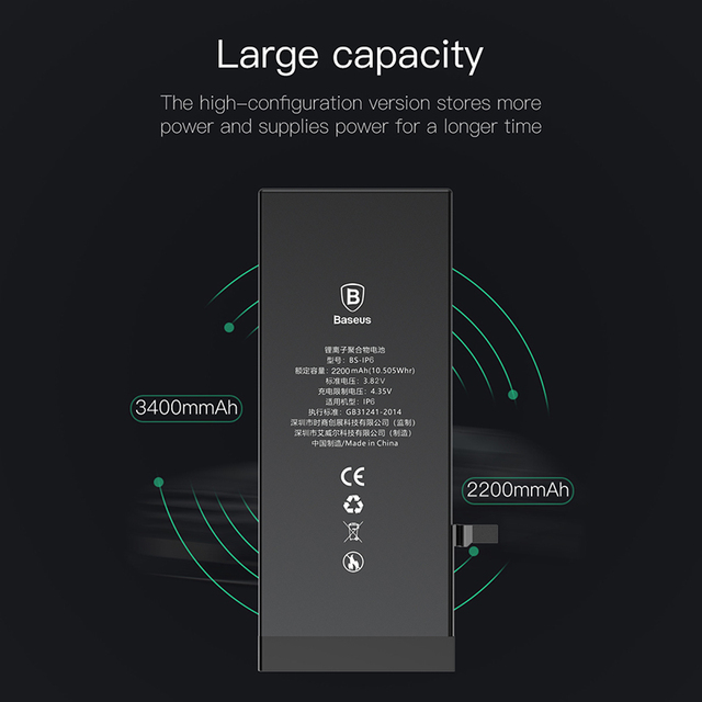 Baseus Battery For iPhone 6 6s 6 s 7 8 Plus Original High Capacity Bateria Replacement Batterie For iPhone X Xs Max Xr 7P 8P 3