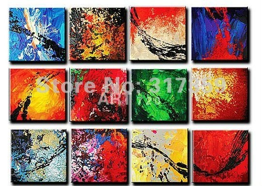 Hand Painted abstract canvas art 12pc/set Point line and plane red oil paintings No framed acrylic paintings art