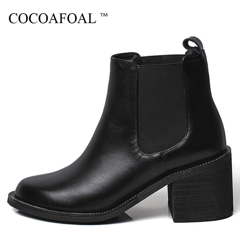 COCOAFOAL Woman Genuine Leather Chelsea Boots Autumn Winter High Heel Shoes Round Toe Black Fashion Sexy Chain Ankle Boots 2018 farvarwo formal retro buckle chelsea boots mens genuine leather flat round toe ankle slip on boot black kanye west winter shoes