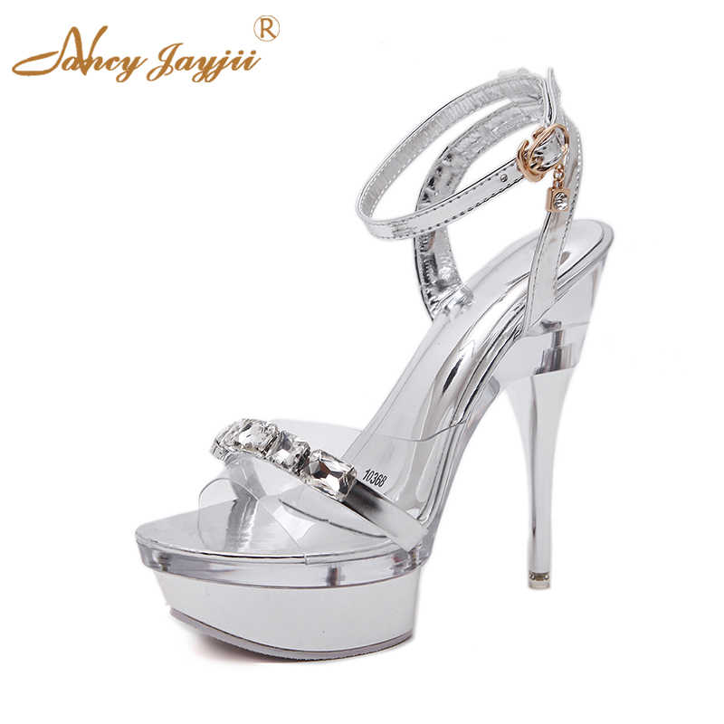 139773a2731d Night Party Silver Sandals High PVC Crystal Platform PU Solid Sexy Woman  Shoes Heel 18cm 14cm