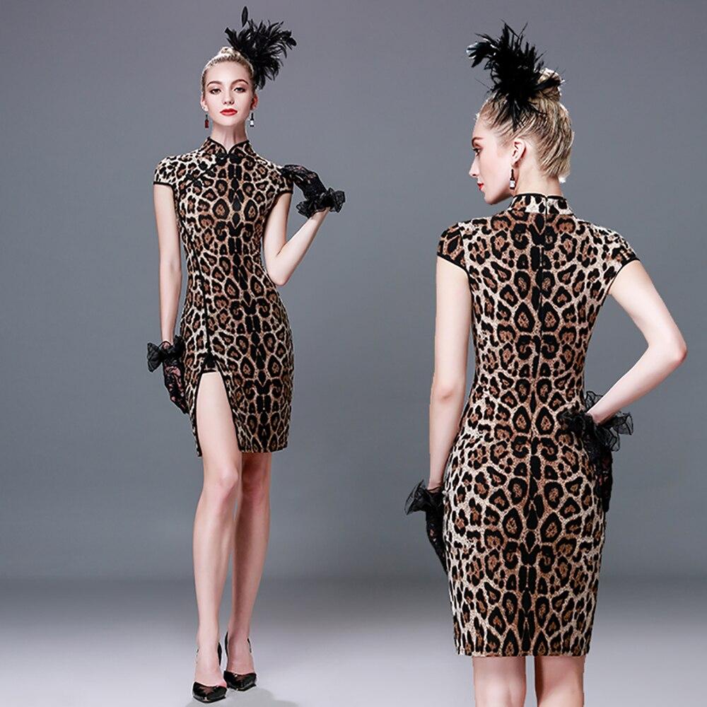 Latin Dance Dress Woman Leopard Skirt Jogo De Cha -5902