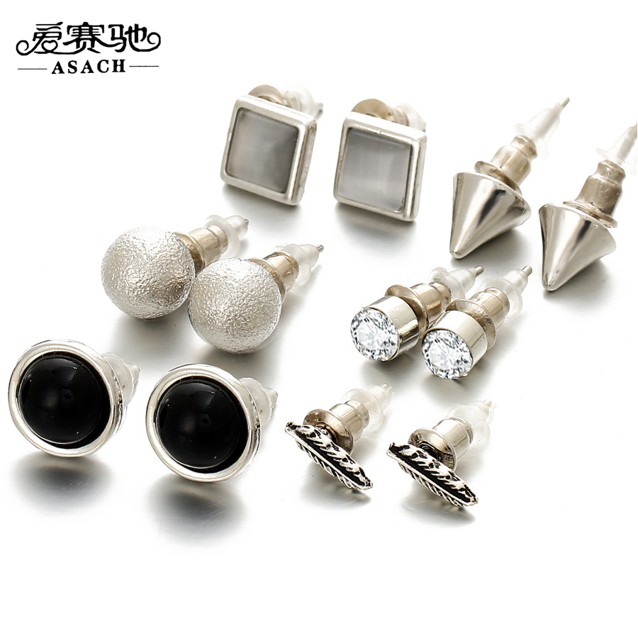 Asach 6 Pairs Earrings Fashion Geometric Tree Leaf Ear Stud Earring Set For  Boy Girls Steampunk