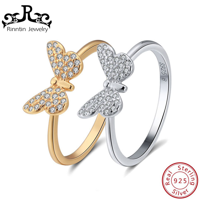 Rinntin Genuine 925 Sterling Silver Women Ring Butterfly Pattern With AAA Shiny Zircon Female s925 Rings Fine Jewelry TSR59Rinntin Genuine 925 Sterling Silver Women Ring Butterfly Pattern With AAA Shiny Zircon Female s925 Rings Fine Jewelry TSR59