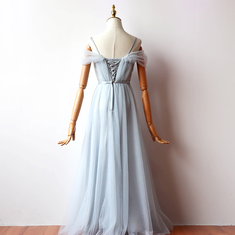 Elegant A-Line Long Tulle Bridesmaid Dress 5