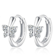 PATICO Free Ship Fashion Nice Jewelry S90 Silver Earring Embed CZ Crystal Butterfly Hoop Earrings For