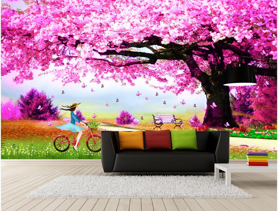 Romantic Marriage Room Nonwoven Wallpaper Beautiful Cherry Tree Photo Wallpaper 3D Mural