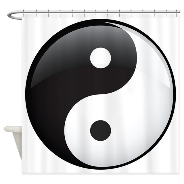 Memory Home Yin Yang Black and White Decor Collection Asian Zen Themed  Waterproof Polyester Fabric Bathroom Shower Curtain
