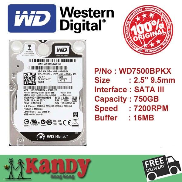 Western Digital WD Black 750GB hdd 2.5 SATA disco duro laptop internal sabit hard disk drive interno hd notebook harddisk disque