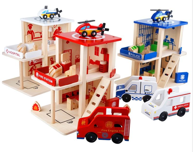 Деревянный Детский подарок игровые наборы полиции/пожарная станция/больницы мальчик подарок разборки развивающие игрушки играть дома игр...
