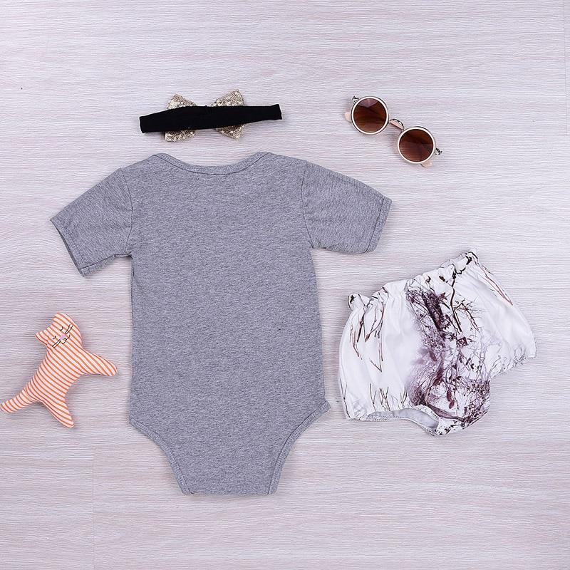 Neue Casual Sommer Kinder Baby Mädchen Outfits Cotton Deer Strampler + Pumphose Shorts + Stirnband 3 STÜCKE Set