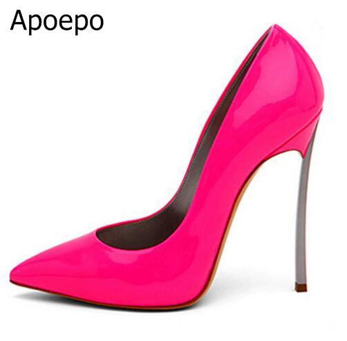 Woman Pumps 2018 Women Solid Color Pointed Toe Slip On Shallow Pumps Summer Fashion Super High Heel 12cm Heel Dress Shoes B031 sequined high heel stilettos wedding bridal pumps shoes womens pointed toe 12cm high heel slip on sequins wedding shoes pumps