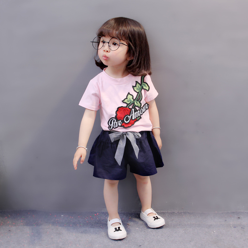Baby Girl Clothes infant outfits Rose Embroidery T-shirt Tops And shorts Toddler Girls Summer Clothing Set Bebes Jogging Suits