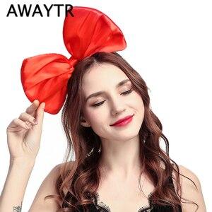 Женский обруч для волос AWAYTR, вечерние обручи красного, черного цветов с большим бантом, аксессуары для волос для девочек, 2019