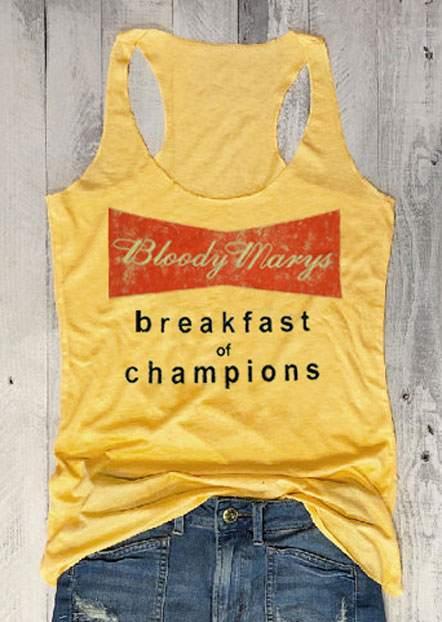 Fashion Women   Tank     Tops   Bloody Marys Breakfast Of Champions   Tank   Female 2018 Summer Sleeveless   Tank   Casual Ladies   Tops   Tee
