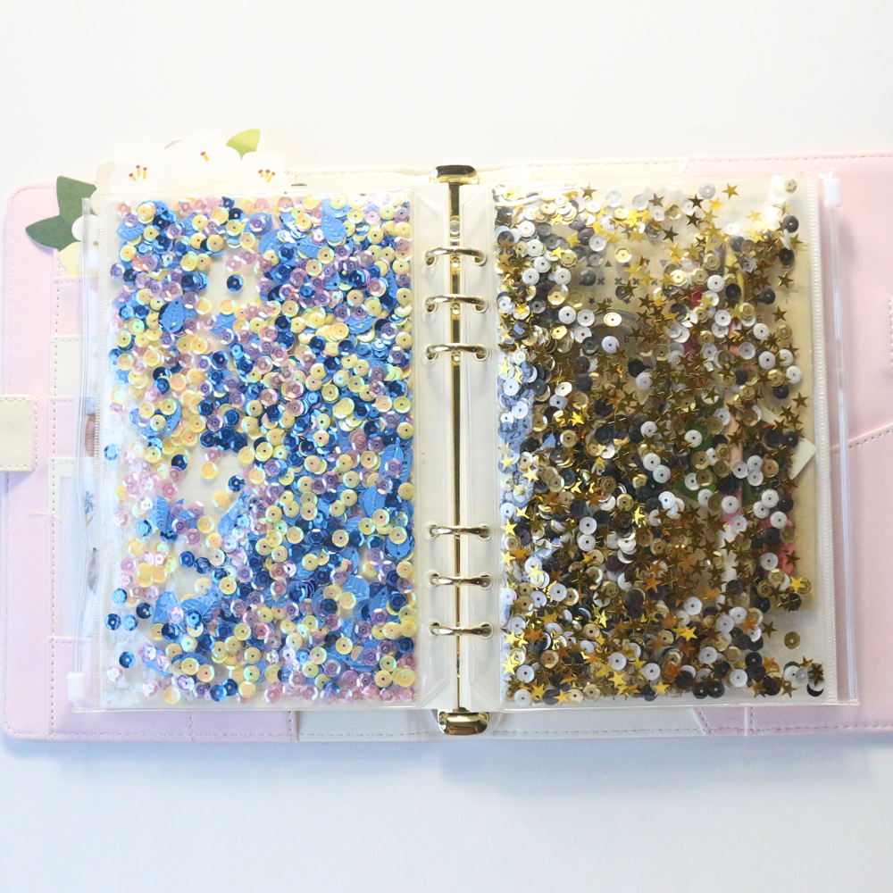 Domikee Cute  DIY Diary Planner Notebooks Sequins Bag Accessories ,fine Student Decorative  6 Holes Sequins Inner Bag For Diary