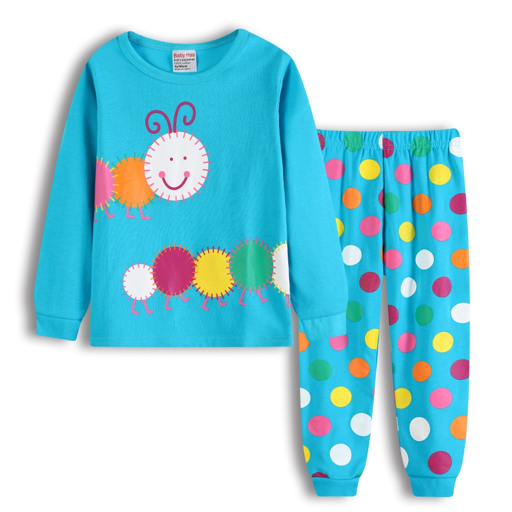 Cute Caterpillar Baby Girls Clothes Suits 2 3 4 5 6 7 Years Pajamas Children Sleepwear Polka Dot Pant T-Shirt Clothing Sets Soft fashion baby girl t shirt set cotton heart print shirt hole denim cropped trousers casual polka dot children clothing set