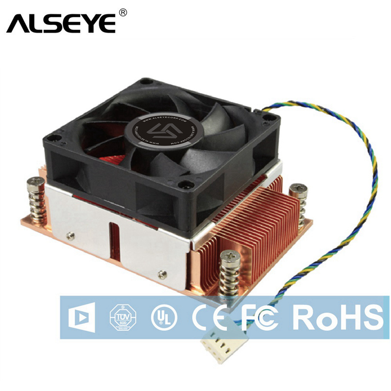 ALSEYE CPU Cooler TDP 115W 2U Server Cooler Pure Copper Base with Ball Bearing Cooling Fan 12V 4Pin original nmb 2415fb d4w b86 dual ball bearing fan 12v 1 52a high power cooling cooler