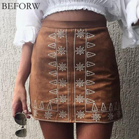Women High Waist Skirt Fashion Boho Style Chic Mini Pencil Skirts Fashion 2017 Summer Vintage Casual