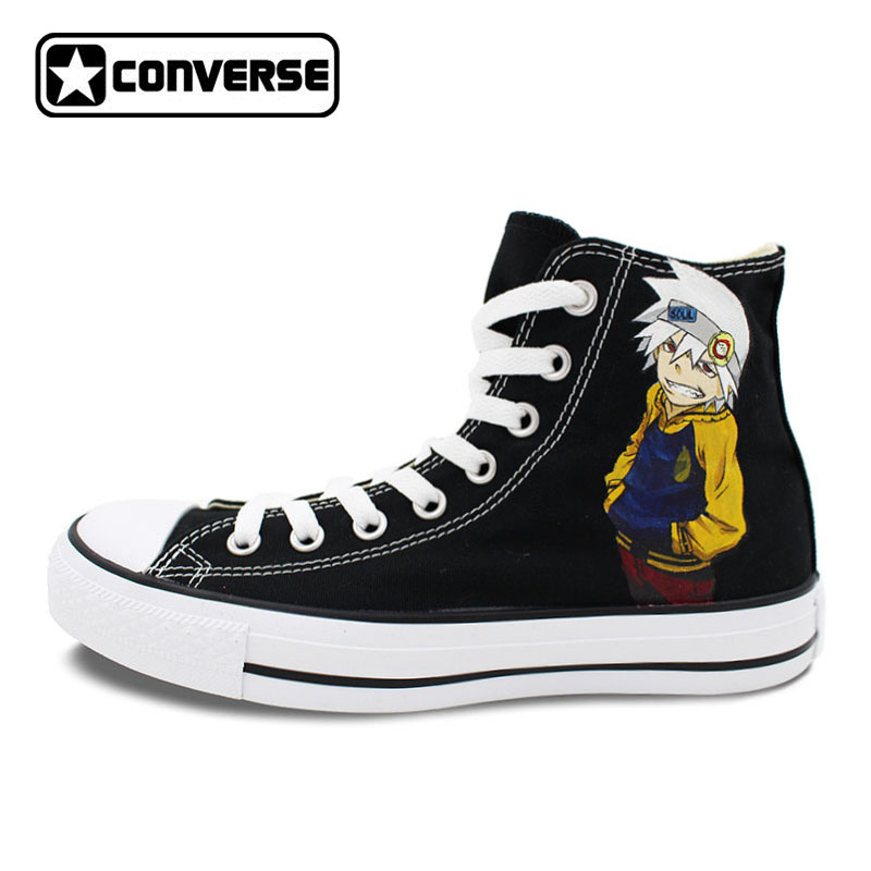 Black Converse Chuck Taylor Anime Soul Eater Design Hand Painted Shoes Man Woman High Top Canvas Sneakers Men Women Cosplay sneakers men women converse all star anime fairy tail galaxy design custom hand painted shoes man woman christmas gifts