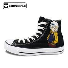 Черные Converse Chuck Taylor аниме Soul Eater Дизайн ручной росписью обувь мужские и женские высокие холщовые кроссовки Для мужчин Для женщин Косплэй
