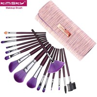KIMISKY 1Set 16 Sticks Makeup Brushes High Quality Fan Cosmetic Eyeliner Eyebrow Makeup Brush Tools Make