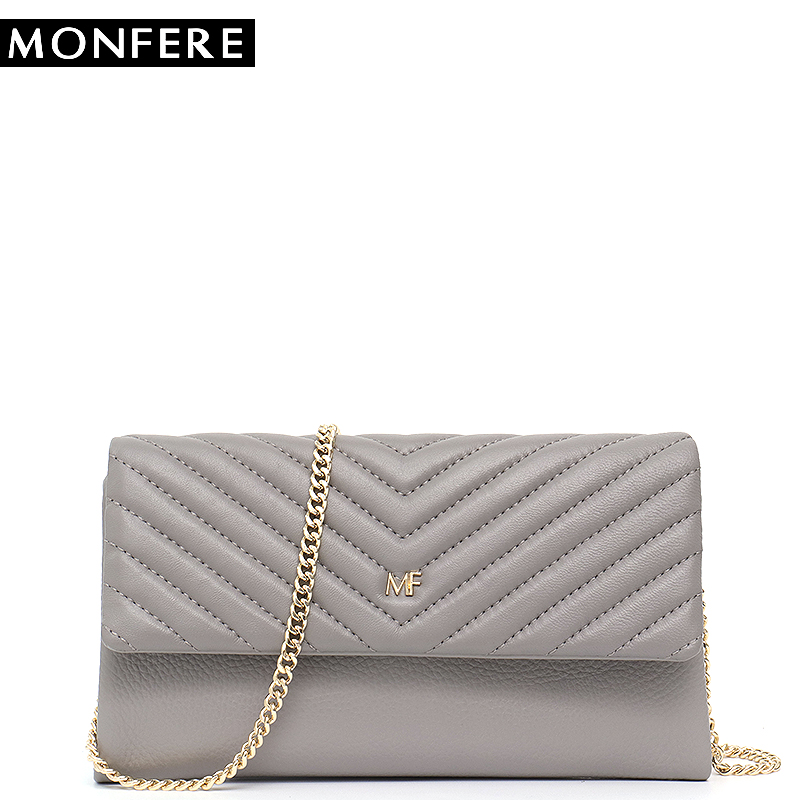 MONFERE Envelope Leather Bag Metal Chain Messenger Fashion Women Card Handbags High Quality Leather Shoulder Bag Ladies Purses high quality women s handbags fashion manual violin bag women purses unilateral oblique bag support drop shipping