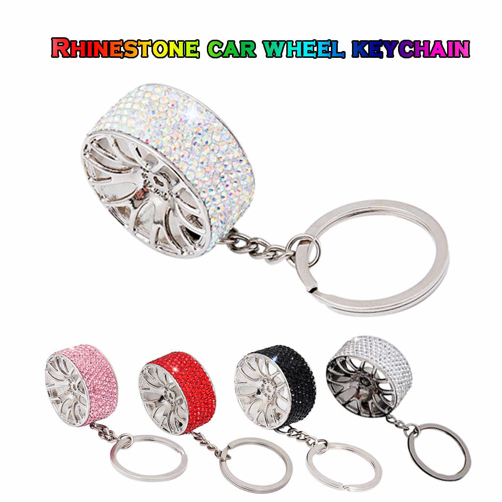 Carro tuning aro da roda chaveiro chave roda de giro auto turbo keyring com discos freio hub chave anel para benz corrida
