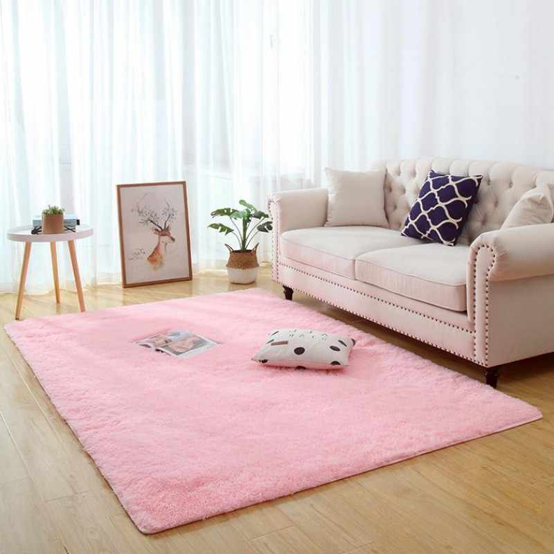Long hair bedside carpet living room coffee table blanket girl room bedroom floor mat Thickened washed silk hair non-slip rug