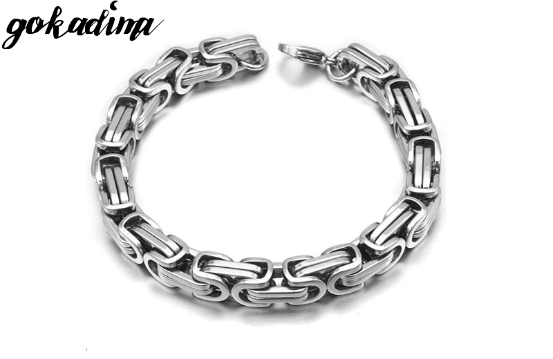 Gokadima New Product, Silver Color Stainless Steel bracelets Link Byzantine Chain Bracelet For MENS Jewelry Fashion Good quality 3