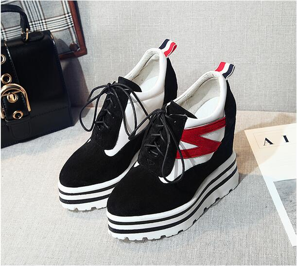 XGRAVITY Spring Autumn Mixed Color Woman Super High Heel Wedge Shoes Elegant Women Casual Platform Shoes Fashion Lace Up A043