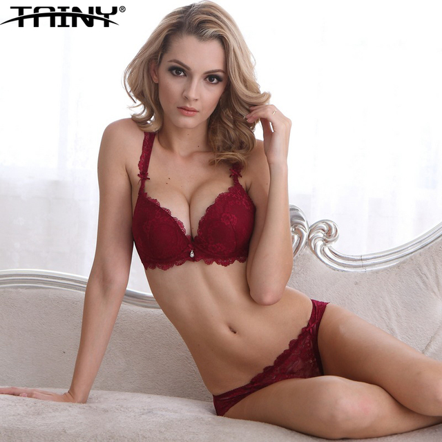 f0a1b958574 TAINY New Brand Women Underwear Lingerie Girl Push Up Adjustable Sexy Lace  Bra Brief Sets