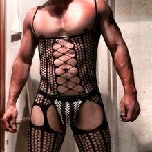 Teddies Bodysuits Stockings Fishnet-Socks Tight Pantyhose Open-Crotch Men One-Piece Siamese