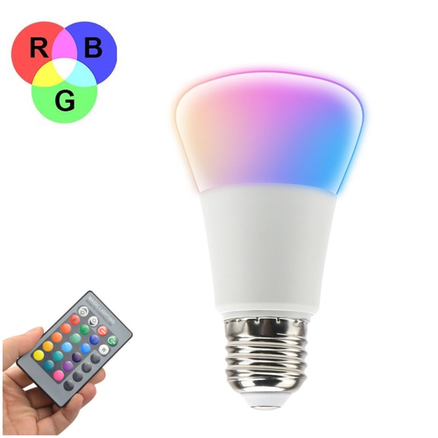 RGB Lamp With Remote Control E27 85-265V RGB LED Bulb 110V 220V Spotlight Lamparas LED Light Christmas Lampadas 10w e27 led bulb lamp rgb stage light 12 colors led lights for home remote control brightness timing ac 85 265v rgb cool white