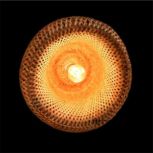 Image 2 - קש במבוק קן קן סיני עתיק נברשת מנורת LED מנורות פנסי סלון מלון מסעדה