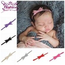 Nishine 20pcs/lot Felt Bow Elastic Children Headband Newborn Soft Hair Headbands Baby Birthday Gift Photography Props