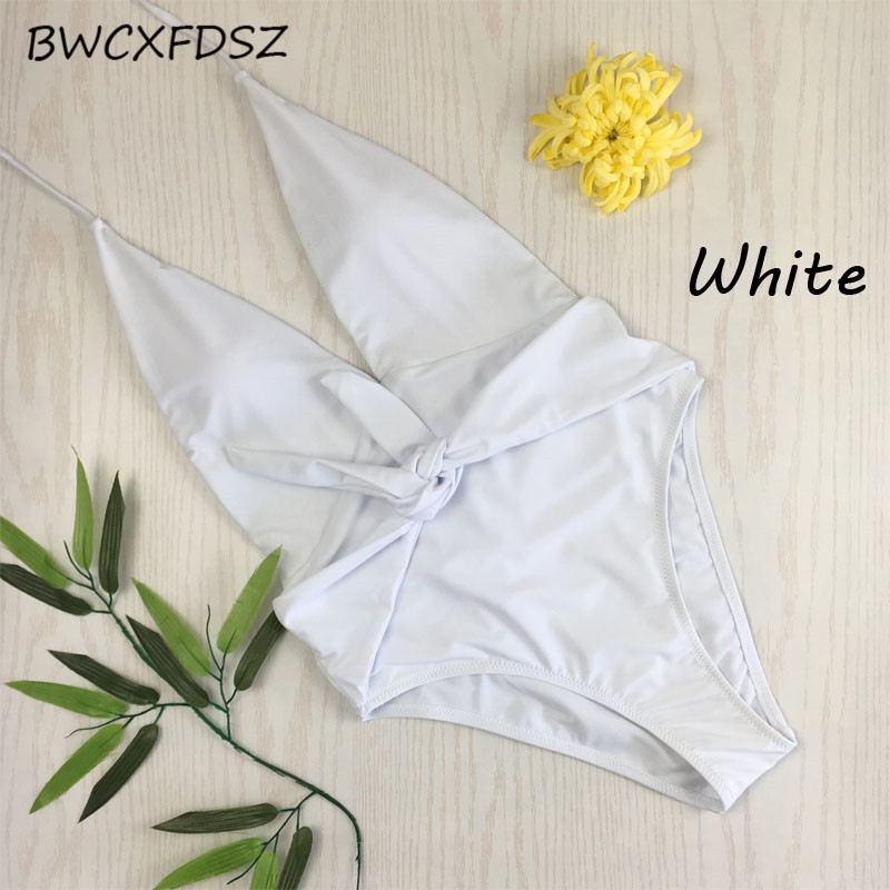 BWCXFDSZ One Piece Swimwear Women Swimsuit Triquini Monokini Trikini Bandage Bodysuit Backless Swimming Bathing Suit Beach Wear in Body Suits from Sports Entertainment