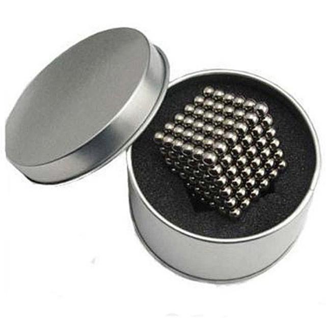 Alta calidad 5mm 216 unids neo cube cubo mágico puzzle bolas magnéticas con la caja de metal cubos de la magia rompecabezas