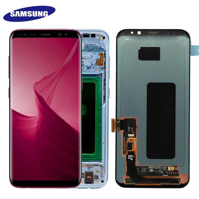 Super AMOLED For Samsung Galaxy S8 S8 plus G955f G950F G950U G950FD Burn in Shadow Lcd Display Touch Screen Digitizer With Frame