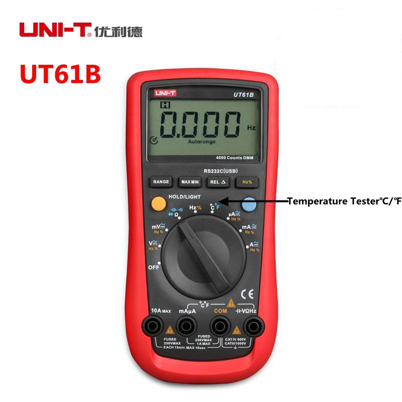 UNI-T UT61B Modern Digital Multimeters AC/DC Voltage Current C/F Temperature Tester Supports RS-232 and USB Cable uni t ut61b modern digital multimeters 3999 count auto power off temperature tester lcd backlight
