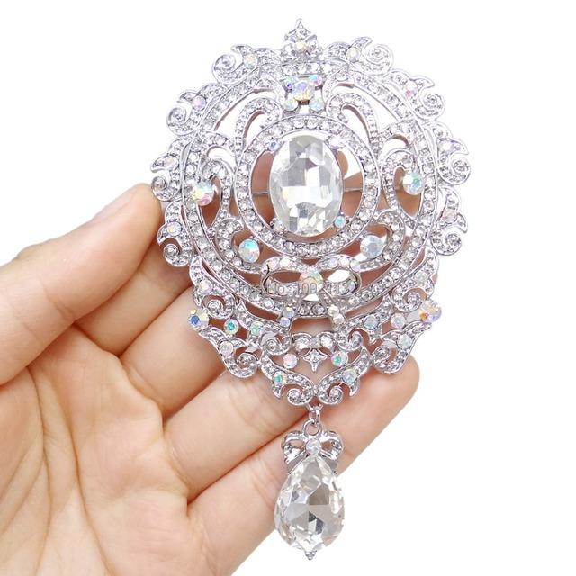 Bella 2015 Nova Primavera Flor de Noiva Queda Oval Strass Pinos Broche de Cristal Austríaco Tom de Prata Broches Para O Casamento Mulheres