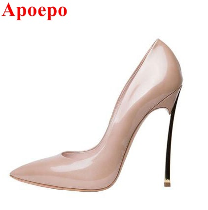 Sexy Pointed Toe Stiletto Heels Pumps 2017 Hot Selling Shinny Patent Leather Blade Heel Pumps For Woman Party Dress Shoes newest patent leather high heel shoes sexy pointed toe woman pumps 2017 leopard printed stiletto heels thin heels dress shoes