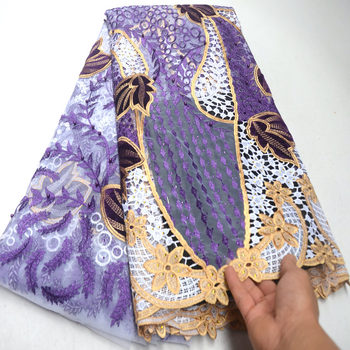 French lace fabric 5yards velvet with beads stone for women luxury asoebi dresses 2019 high quality nigerian lace fabric DG182