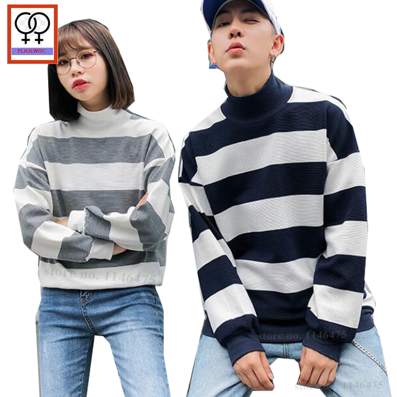 ac15cc3520 Turtleneck Tops Winter Outwear Black Gray Striped His Her Korean Design Matching  Couple Hoodies Pullover Hoodie
