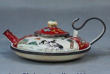 Dynasty Chinese Collect Cloisonne Enamel Wine Tea Pot Flagon Crane Statue(China)